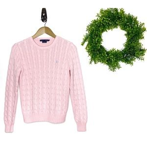 RALPH LAUREN Lt Pink Cable Knit Pullover Sweater M